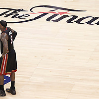 14 June 2012:  Miami Heat small forward LeBron James (6) rests during the Miami Heat 100-96 victory over the Oklahoma City Thunder, in Game 2 of the 2012 NBA Finals, at the Chesapeake Energy Arena, Oklahoma City, Oklahoma, USA.