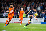Dundee forward Faissal El Bakhtaoui (#20) controls a long pass under pressure from Dundee United defender Mark Durnan (#4) during the Betfred Scottish Cup match between Dundee and Dundee United at Dens Park, Dundee, Scotland on 9 August 2017. Photo by Craig Doyle.