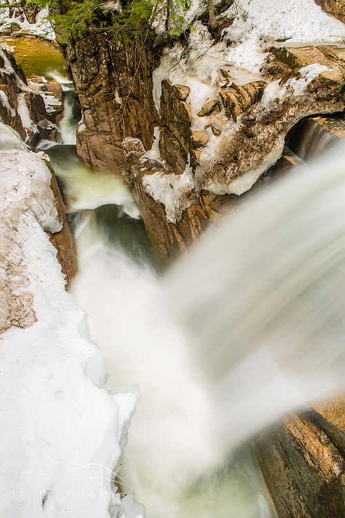 Sabbaday Falls in early spring, White Mountain Naitonal Forest, New Hampshire.