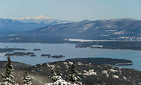 Looking out over Lake Winnipesaukee and Mount Washington from the top of Gunstock Mountain Monday morning.  (Karen Bobotas/for the Laconia Daily Sun)