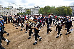 © Licensed to London News Pictures. 20/10/2019. London, UK. Over 500 Sea Cadets aged between 10 to 18 take part in National Trafalgar Day Parade in London, marching from Horse Guards Road to Horse Guards Parade to celebrate the anniversary of the Battle of Trafalgar on 21 October 1805. It also marks the death of Lord Nelson (Vice-Admiral Horatio Nelson), who was fatally injured in the battle. For security reasons this year's parade takes Horse Guards Parade and not Trafalgar Square. Photo credit: Dinendra Haria/LNP