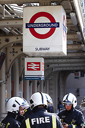 © licensed to London News Pictures. LONDON, UK  01/05/2011. 12 London Fire Brigade engines including a hazardous material response team, London Ambulance and London Underground staff attend a chemical incident at Charing Cross Tube Station. They were called at 3pm. Dust was seen in the station but after testing by London Underground was found to be harmless. The station remains closed. Please see special instructions for usage rates. Photo credit should read CLIFF HIDE/LNP