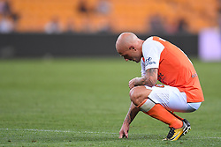 October 13, 2017 - Brisbane, QUEENSLAND, AUSTRALIA - Massimo Maccarone of the Roar reacts to his team's loss in the round two A-League match between the Brisbane Roar and Adelaide United at Suncorp Stadium on October 13, 2017 in Brisbane, Australia. (Credit Image: © Albert Perez via ZUMA Wire)