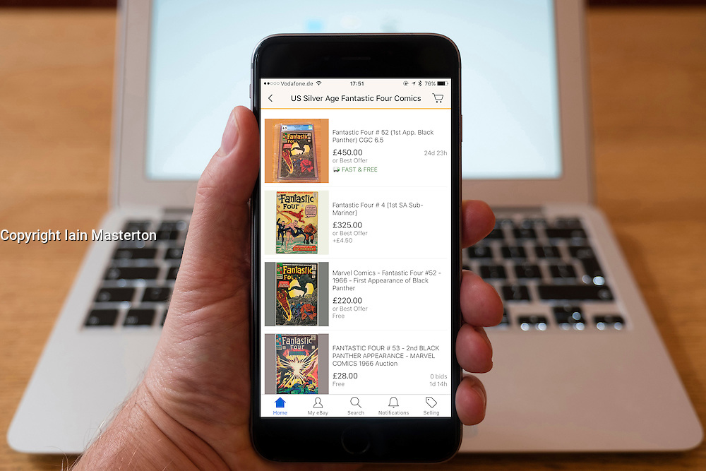 Using iPhone smartphone to display collectible comics for auction and sale on eBay
