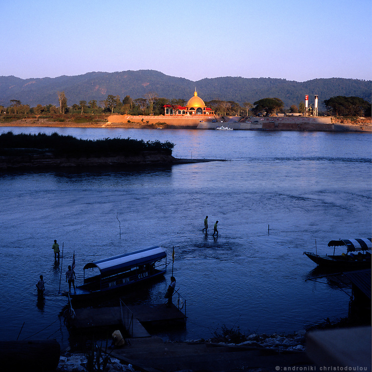 "At the point where Nam Ruak river meets Mekong river, the border of Burma (left), Laos (right) and Thailand (bottom) are meeting. That is the ""official"" center of the Golden Triangle. Sop Ruak is the Thai town located there and it is often called Golden Triangle."