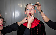 LONDON, ENGLAND - FEBRUARY 17:  A model backstage ahead of the HAIZHENWANG presentation during the London Fashion Week February 2017 collections at The Swiss Church on February 17, 2017 in London, England.  (Photo by Tim P. Whitby/Getty Images)