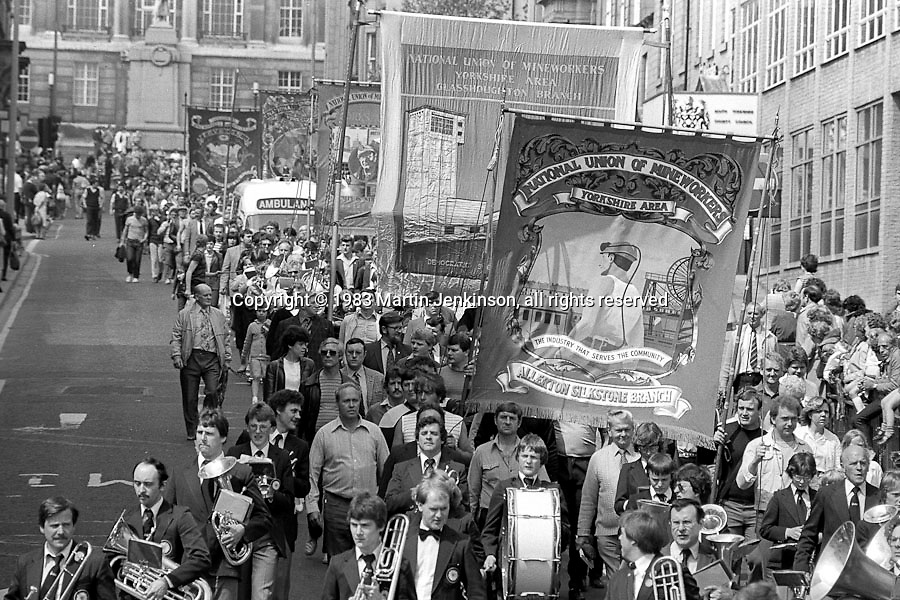 Allerton Silkstone and Glasshoughton banners, 1983 Yorkshire Miner's Gala. Barnsley