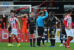Nathan Cameron of Macclesfield Town is shown a red card- Mandatory by-line: Nizaam Jones/JMP- 26/01/2019 - FOOTBALL - LCI Rail Stadium -Cheltenham, England - Cheltenham Town v Macclesfield Town - Sky Bet League Two
