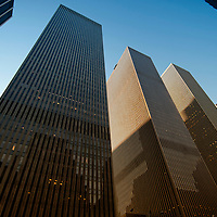 Several high rises as part of the Rockefeller complex in Midtown, low angle. Manhattan, New York City.