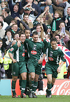 Photo:Paul Thomas. Nottingham Forest v Plymouth Argyle, City Ground, Nottingham. 09/04/2005. Plymouth celebrate their last goal by Dexter Blackstock.