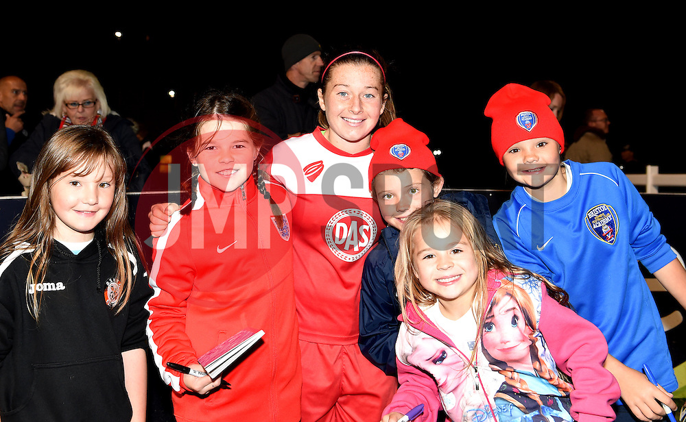 Christie Murray of Bristol Academy Women with a group of young fans - Mandatory by-line: Paul Knight/JMP - Mobile: 07966 386802 - 04/10/2015 -  FOOTBALL - Stoke Gifford Stadium - Bristol, England -  Bristol Academy Women v Liverpool Ladies FC - FA Women's Super League