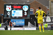 Grimsby Town goalkeeper James McKeown(1) in despair looks towards the score board at the final whistle witha 0-3 win to Oldham during the EFL Sky Bet League 2 match between Grimsby Town FC and Oldham Athletic at Blundell Park, Grimsby, United Kingdom on 15 September 2018.
