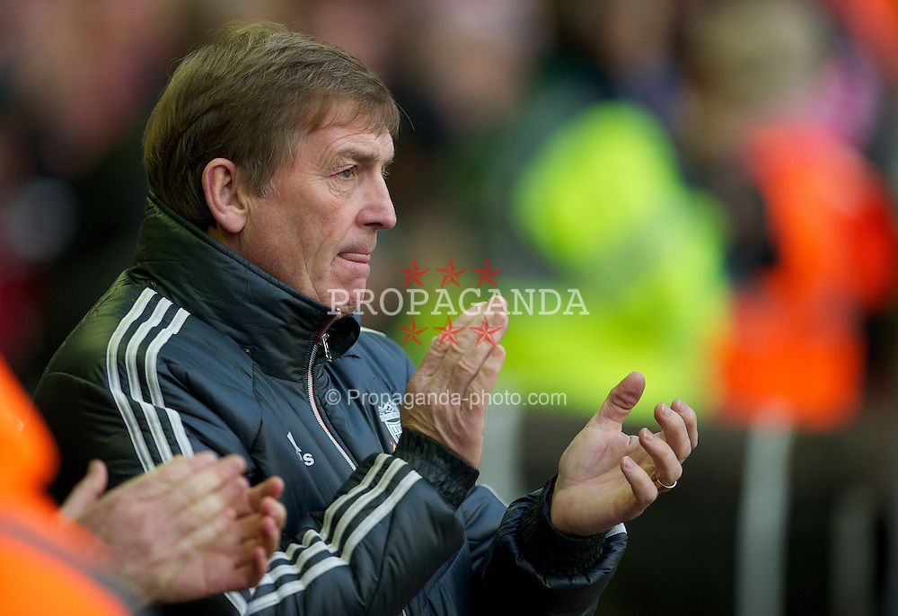 LIVERPOOL, ENGLAND - Saturday, December 10, 2011: Liverpool's manager Kenny Dalglish before the Premiership match between Liverpool and Queens Park Rangers at Anfield. (Pic by David Rawcliffe/Propaganda)