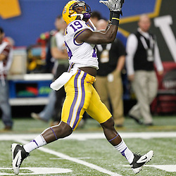 Dec 3, 2011; Atlanta, GA, USA; LSU Tigers tight end Deangelo Peterson (19) prior to kickoff of the 2011 SEC championship game against the Georgia Bulldogs at the Georgia Dome.  Mandatory Credit: Derick E. Hingle-US PRESSWIRE