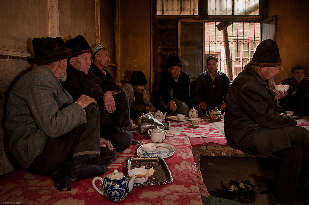 — When mid-day prayers are finished and lunch eaten, Uyghur men go to the tea house to drink traditional teas and socialize before heading back to work.