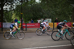 Hannah Barnes (GBR) of CANYON//SRAM Racing turns onto the Birdcage Walk during the Prudential RideLondon Classique, a 66 km road race in London on July 30, 2016 in the United Kingdom.