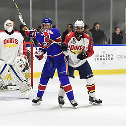 BUFFALO, NY - SEP 20,  2017: Ontario Junior Hockey League Governors Showcase game between the Toronto Jr. Canadiens and Wellington Dukes, Brett Thorne #5 of the Wellington Dukes battles for control with David Sherman #27 of the Toronto Jr. Canadiens during the third period.<br /> (Photo by Andy Corneau / OJHL Images)