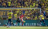 Mads Emil Madsen (Silkeborg IF) sparker væk under kampen i 3F Superligaen mellem Brøndby IF og Silkeborg IF den 14. juli 2019 på Brøndby Stadion (Foto: Claus Birch)