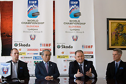 Player Andrej Tavzelj, IIHF Vice president Shoichi Tomita (JPN), president of HZS Ernest Nestl Aljancic and head coach John Harrington at press conference of Slovenian National team before Ice-Hockey World Championships Division I Ljubljana 2010, on April 16, 2010, in Hall Tivoli, Ljubljana, Slovenia.  (Photo by Vid Ponikvar / Sportida)