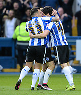 Fernando Forestieri (R) of Sheffield Wednesday celebrates scoring but his goal is ruled out during the Sky Bet Championship Playoff Semi Final First Leg at Hillsborough, Sheffield<br /> Picture by Richard Land/Focus Images Ltd +44 7713 507003<br /> 13/05/2016