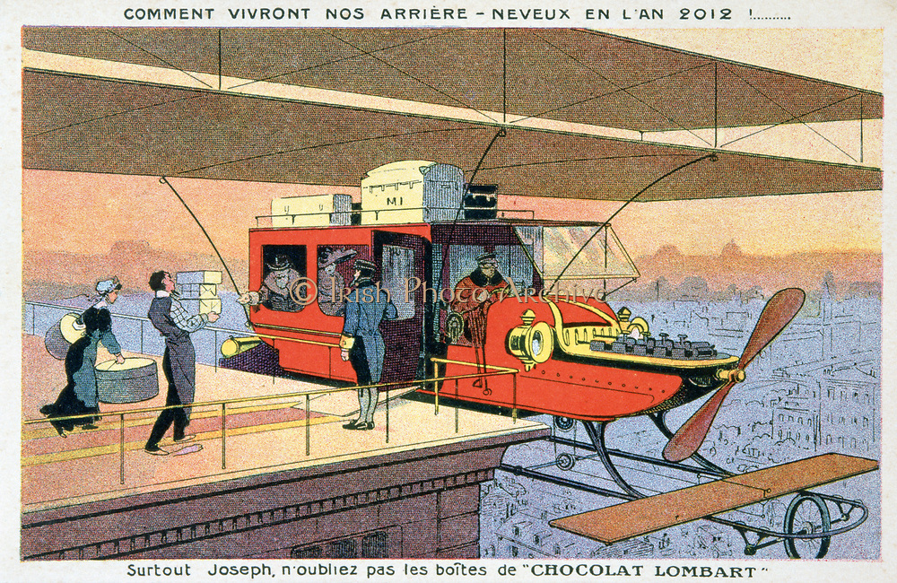 Early 20th century trade card imagining fashionable travel in 2012. Private biplane collecting passengers from roof of their house. Fortunately the boxes of Chocolat Lombard have not been forgotten. Flying Aviation Aeronautics