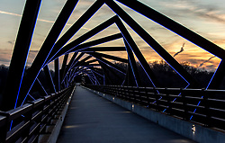 March 22, 2019 - Madrid, Iowa, U.S. -  Originally a conduit for rail freight, but now a decomissioned railroad line, the High Trestle Trail Bridge is part of the 25-mile Trestle Trail path for bikers, hikers and horseback riders. The artistic, spiral steel frames springing up from the road bed are a nod to the shape of the timbers placed in former central Iowa coal mines.(Credit Image: © Brian Cahn/ZUMA Wire)