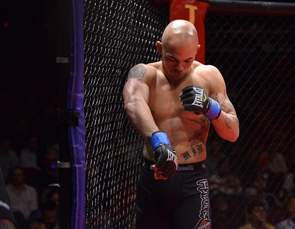 Atlantic City, New Jersey, January 24, 2014: Darren Mima getting ready to take on Merab Dvalishvili(not shown) at Ring of Combat 47 at The Tropicana Casino.