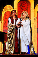 "MERRICK, NY - February 21: Duelling Divas stars, sopranos Birgit Fioravante and Wendy Reynolds - wearing Roman cloaks and singing ?Mira, O Norma? and ?Casta Diva? from Bellini's ""Norma"" - in comic opera concert presented by Merrick Bellmore Community Concert Association on February 21, 2010 at Merrick, NY."