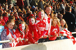 A day to remember for Ruth and Aoibhe Horan, Lynn Gaffney, Leah and Emma Horan, with Cliona and Aoife Hennessey..Showing their support for Ballintubber at the  county senior football final on  sunday..Pic Conor McKeown