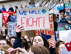 Edinburgh, Scotland, UK. 15 March, 2019. Students and school children who controversially are on strike from school take part in a Fridays for Future, School Strike 4 Climate demonstration outside the Scottish Parliament in Holyrood, Edinburgh.