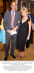 MR JEREMY NEVILLE and his wife SALLY FARMILOE former close friend of Lord Archer, at an exhibition in London on 31st July 2002.PCM 36