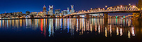 Portland Skyline and Hawthorne Bridge in early evening<br /> <br /> Shot in Portland, OR, USA