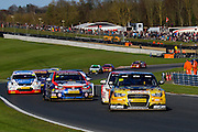 Rob Austin takes an early lead in race 3 during the Dunlop MSA British Tour Car Championship at Brands Hatch (Indy), Fawkham, United Kingdom on 5 April 2015. Photo by Aaron Lupton.