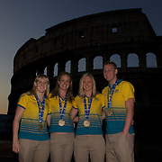 Australian Gold medal winners during a 6am photo shoot outside the  Coloseum. Pictured from left to right are Jessicah Schipper, Marieke Guehrer, Melissa Gorman and Brenton Rickard in Rome Italy on  Monday, August 03, 2009. Photo Tim Clayton.
