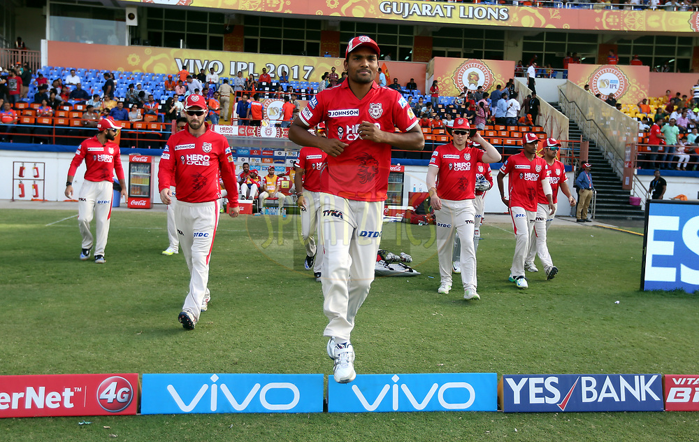 Kings XI Punjab team arrives before the start of the second innings of the  match 26 of the Vivo 2017 Indian Premier League between the Gujarat Lions and the Kings XI Punjab held at the Saurashtra Cricket Association Stadium in Rajkot, India on the 23rd April 2017<br /> <br /> Photo by Sandeep Shetty - Sportzpics - IPL
