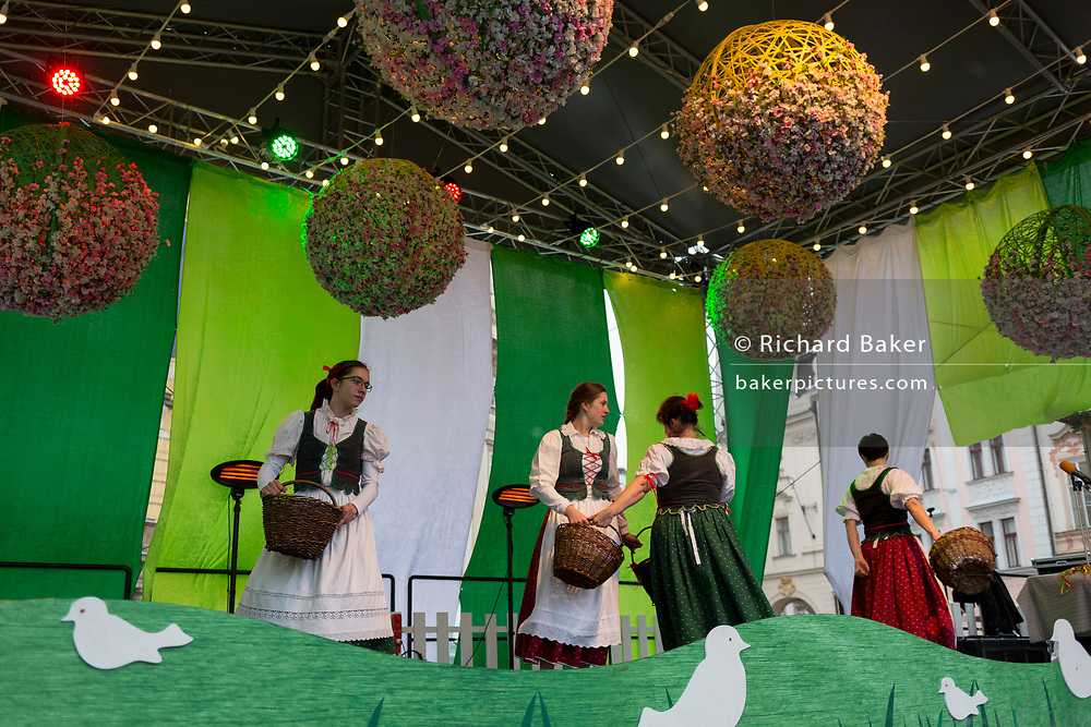 Czech women perform traditional folk dances with an easter theme, on 17th March, 2018, in Prague, the Czech Republic.