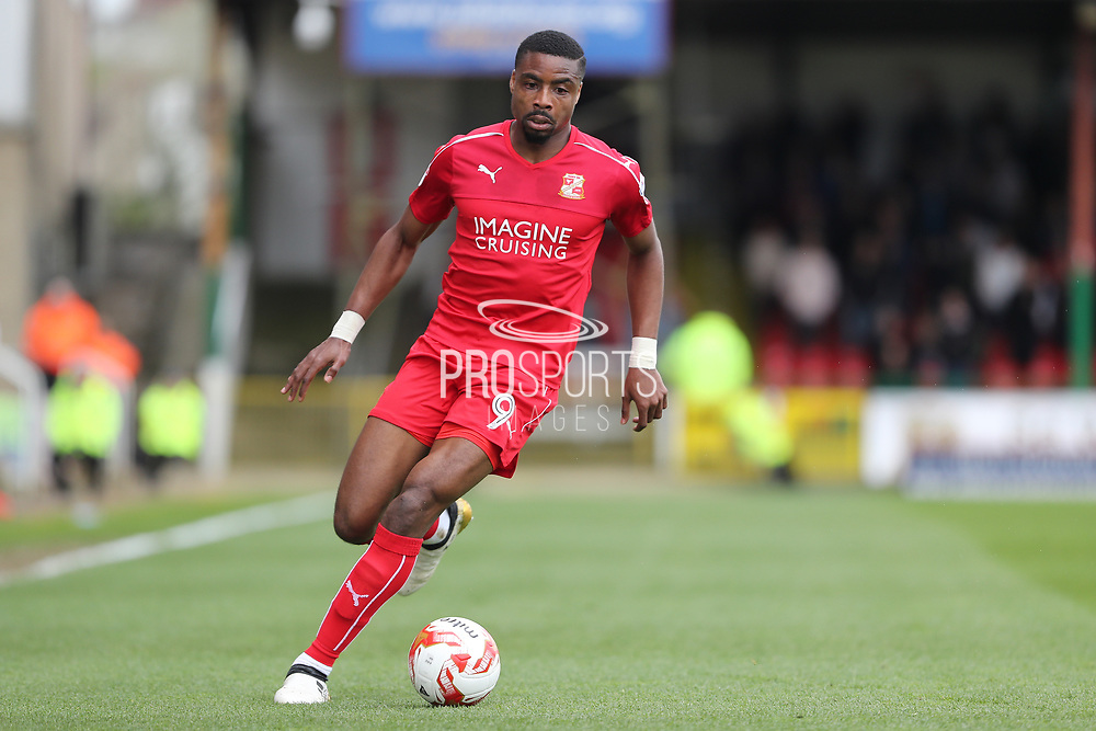 Swindon Town striker Jonathan Obika (9) during the EFL Sky Bet League 1 match between Swindon Town and AFC Wimbledon at the County Ground, Swindon, England on 14 April 2017. Photo by Stuart Butcher.