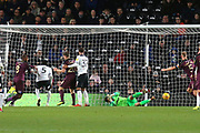 Swansea City midfielder Leroy Fer (8) scores a goal 2-1 during the EFL Sky Bet Championship match between Derby County and Swansea City at the Pride Park, Derby, England on 1 December 2018.