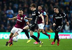 Robert Snodgrass of Aston Villa takes on Tom Pearce of Leeds United - Mandatory by-line: Robbie Stephenson/JMP - 13/04/2018 - FOOTBALL - Villa Park - Birmingham, England - Aston Villa v Leeds United - Sky Bet Championship