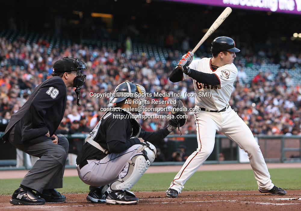 26 July 2010: San Francisco Giants catcher Buster Posey #28 extends his hitting streak to 18 games as the Giants and Marlins remained tied 0-0 through two innings at AT&T Park in San Francisco, California ***FOR EDITORIAL USE ONLY****