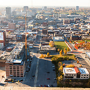 Elevated view of Kansas City's Crossroads District area from Power and Light Building during renovation