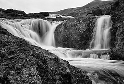 small waterfall that went under the giant dam which was built in the highlands of Iceland - Fossar sem fóru undir lónið við Kárahnjúka
