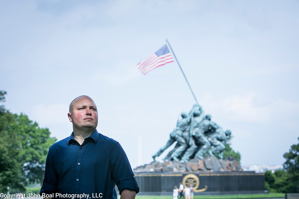 Navy Lt.Commander, Blake Dremann at the U.S. Marine Corps War Memorial, on Thursday, July 27, 2017. Dremann completed gender reassignment procedures in 2013 and has served openly in the Navy. President Trump's announcement via Twitter that the U.S. Military will no longer accept transgender service members, threatens his career. John Boal photo/for The Boston Globe