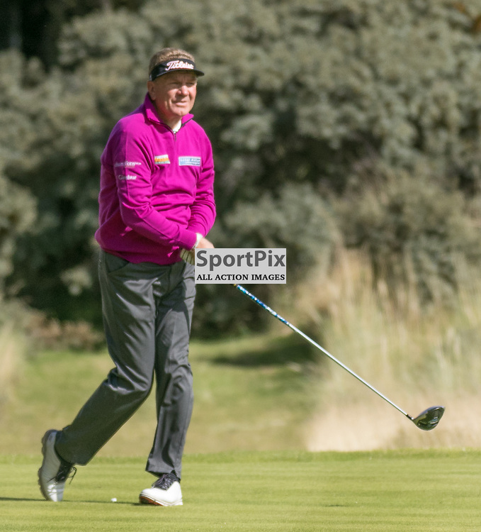 Paul Broadhurst (England) watches his drive on the 9th hole (his 18th). Prostate Cancer UK Scottish Senior Open, 28th August 2015