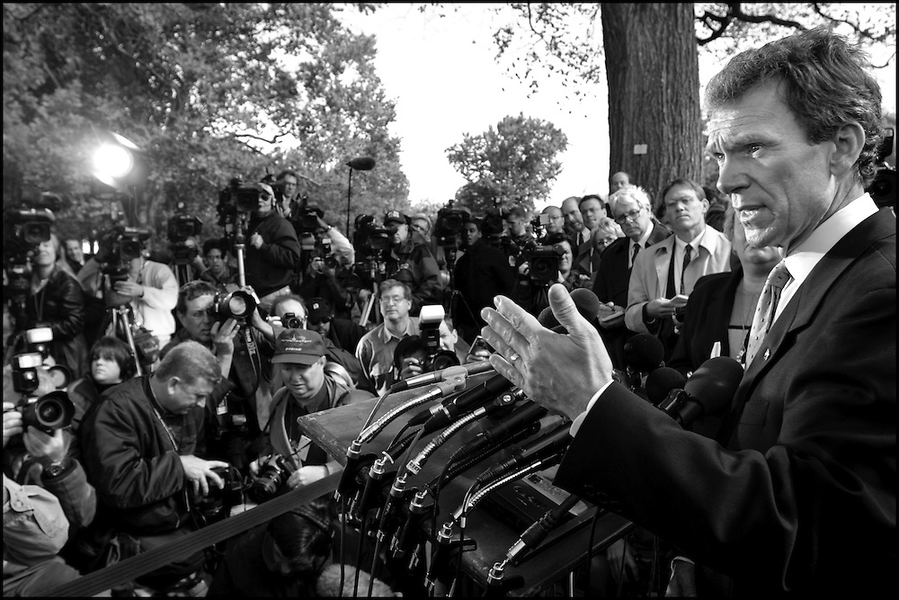 Sen. Tom Daschle during the first of two press conferences held today concerning the anthrax scare in his Hart Building office.  10/17/01..©PFBENTLEY/PFPIX.com.