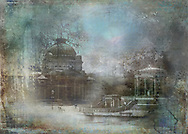 Vintage style composition of buildings from the turn of the century Spa Park in Bad Homburg, Germany
