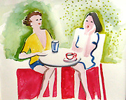 Girl Talk. Watercolor. ©JoAnn Hawkins