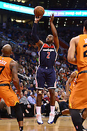 Apr 1, 2016; Phoenix, AZ, USA; Washington Wizards guard John Wall (2) shoots the ball in the game against the Phoenix Suns at Talking Stick Resort Arena. The Washington Wizards won 106-99. Mandatory Credit: Jennifer Stewart-USA TODAY Sports