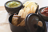 Tamales dish setup at Don Manuel's restaurant at Capella Pedregal Hotel & Resort, Cabo San Lucas, Baja California Sur, Mexico