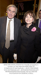 MR & MRS MARK LITTMAN he is the QC at a party in London on 14th February 2002.OXM 121